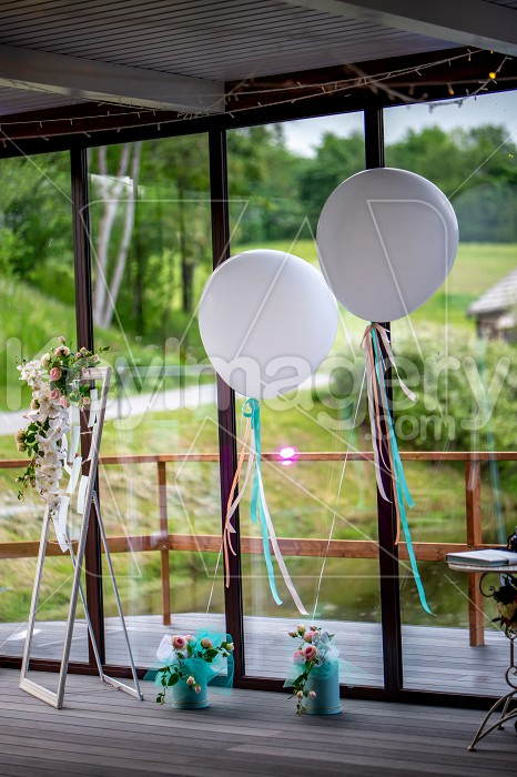 Room decorated for wedding party in restaurant Photo #61694