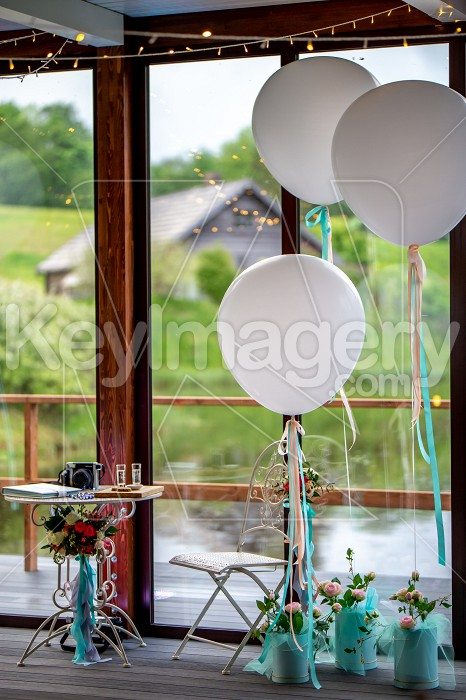 Room decorated for wedding party in restaurant Photo #61695