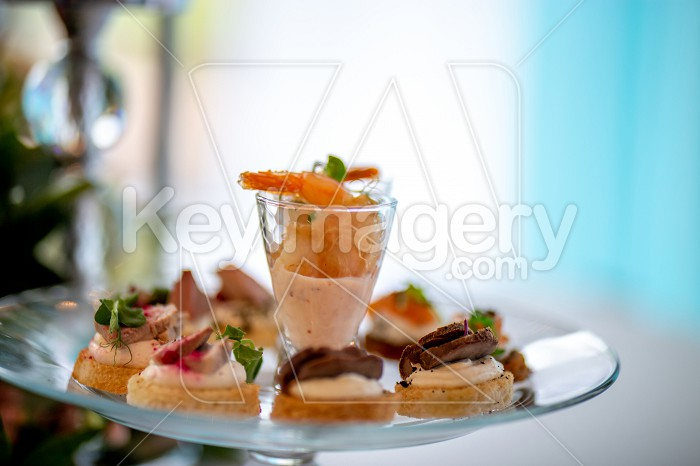 Shrimp salad and sandwiches on plate. Photo #61646