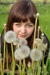 Portrait of beauty girl with dandelions.