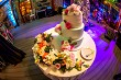 Decorated wedding cake on the table.