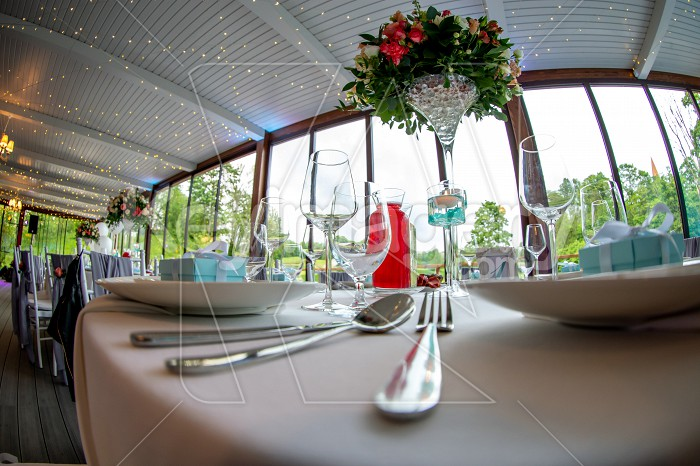 Table setting for wedding party in restaurant Photo #61691