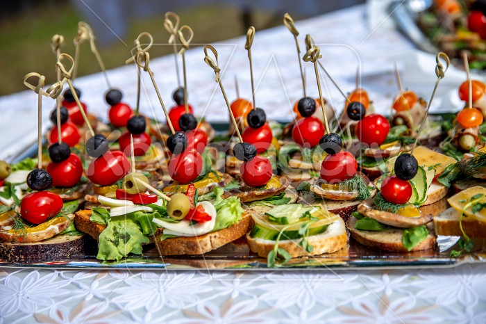 Wedding table with canapes and sandwiches Photo #61820
