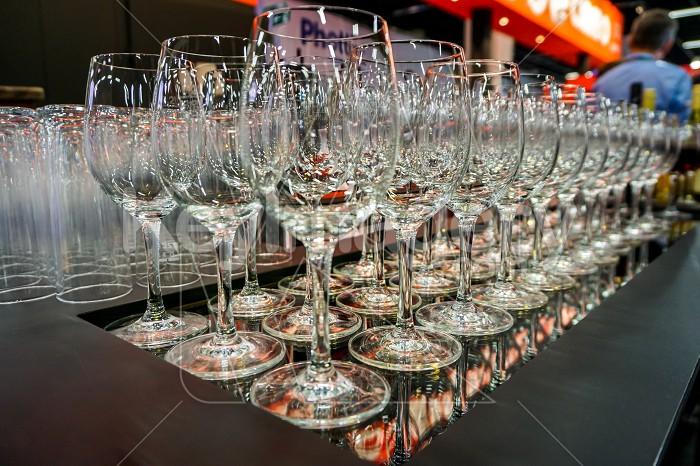 Wine glasses in reataurant at the Photokina Exhibition Photo #61891