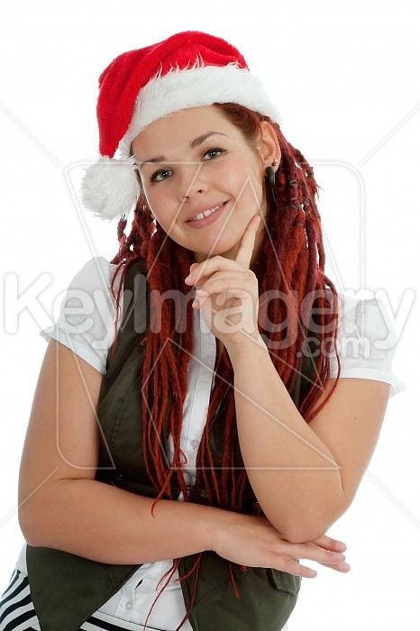 Young modern christmas girl isolated on white background. Photo #44937