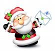 Whimsical Santa Holding Letters