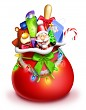 Whimsical Cartoon Santa Bag with Toys