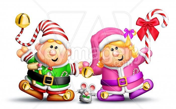 Whimsical Boy and Girl Elves Holding Hands Photo #47747