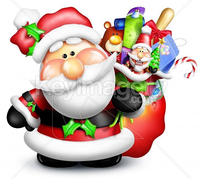 Whimsical Cartoon Santa with Gift Bag and Toys Photo #47752