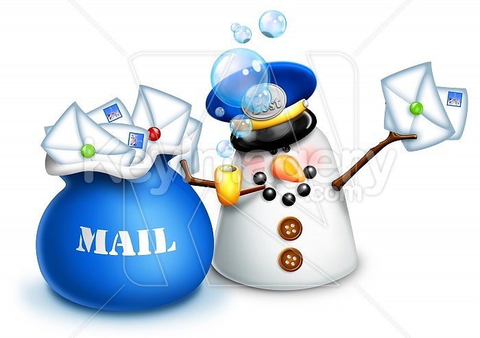 Whimsical Snowman Mailman with Letters and mail bag Photo #47895