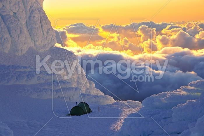 Mt Taranaki/Egmont summit with tent Photo #4576