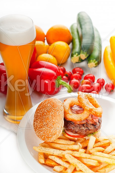 classic hamburger sandwich and fries Photo #50308