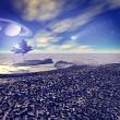 Another world. Fantastic landscape, 3D rendered image