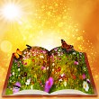 Fairy tales from magic book. Abstract fantasy backgrounds with b