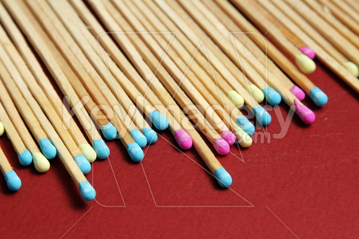 Close up of coloured matches Photo #7548