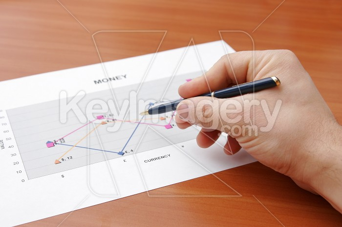 Hand holding a pen showing a diagram on financial report Photo #7820