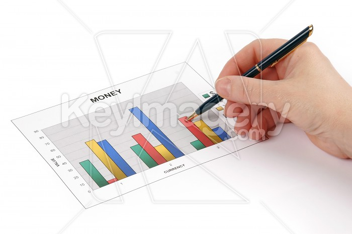 Hand holding a pen showing a diagram on financial report Photo #7822