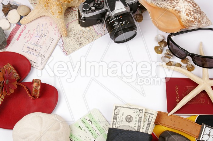 Travel frame on white with photo camera glasses , shells, passports, money Photo #7899