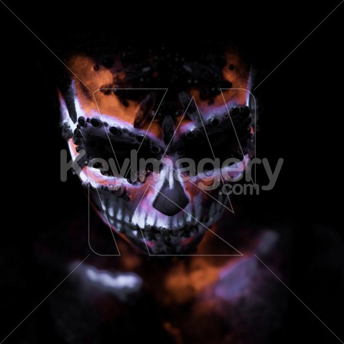 Girl's face painted UV skull Photo #59597