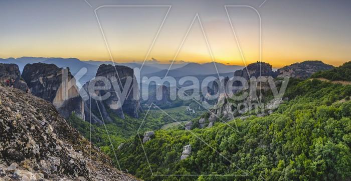 Panoramic view of the monasteries of Meteora at sunset Photo #61711