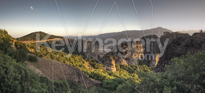 Panoramic view of the monasteries of Meteora at sunset Photo #61712