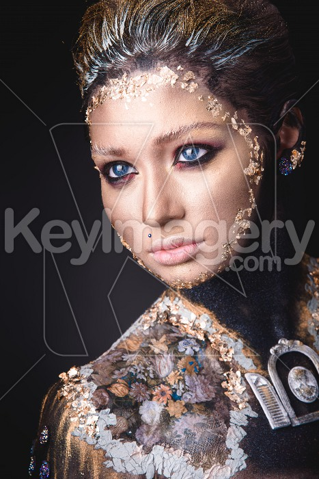 Portrait a girl with Golden icon painting makeup Photo #61719