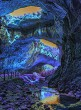 Mystical cave in bright fantastic colors