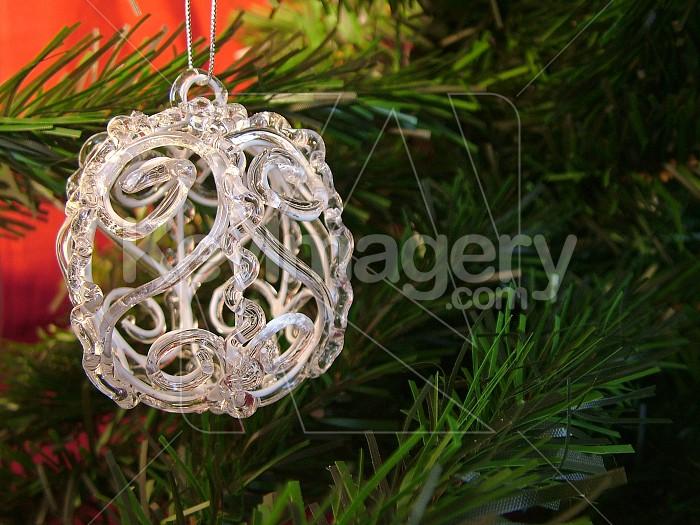 glass christmas ball on tree Photo #4605