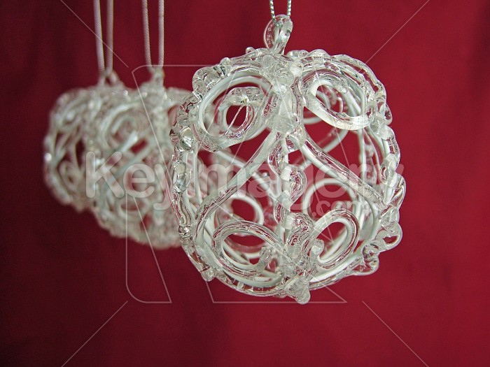 glass xmas ball on red background Photo #4595