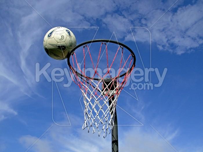 netball on edge of goal Photo #1507