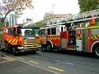 two fire trucks meeting