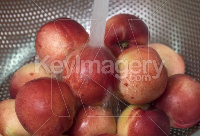 Peaches nectarine. Fresh red ripe nectarines washed under runnin Photo #62081