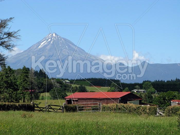 Mt Taranaki and red shed  Photo #6378