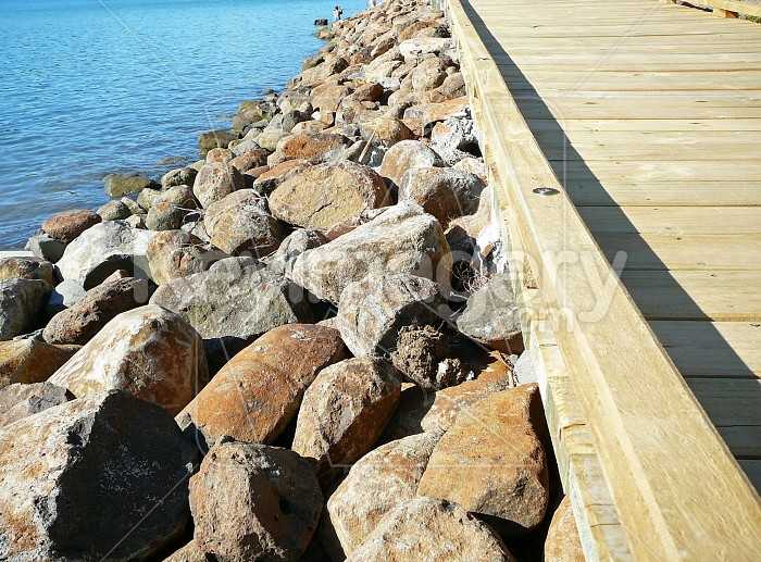 Rocks supporting the boardwalk Photo #7299