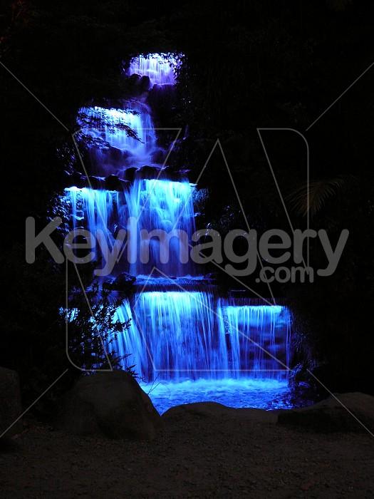 Waterfall at night, blue lights Photo #7210