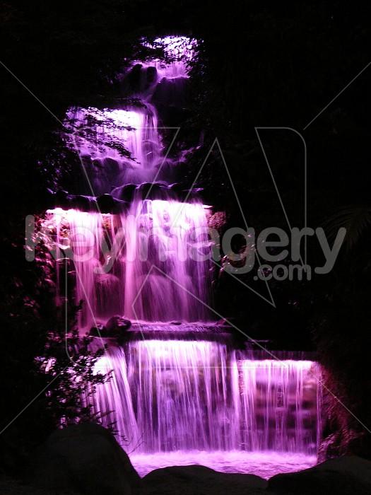 Waterfall at night, purple lights Photo #7215